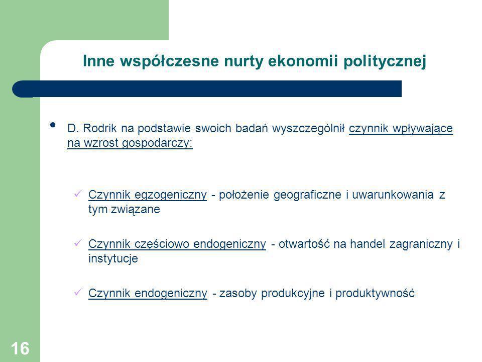 16 Inne współczesne nurty ekonomii politycznej D. Rodrik na podstawie swoich badań wyszczególnił czynnik wpływające na wzrost gospodarczy: Czynnik egz