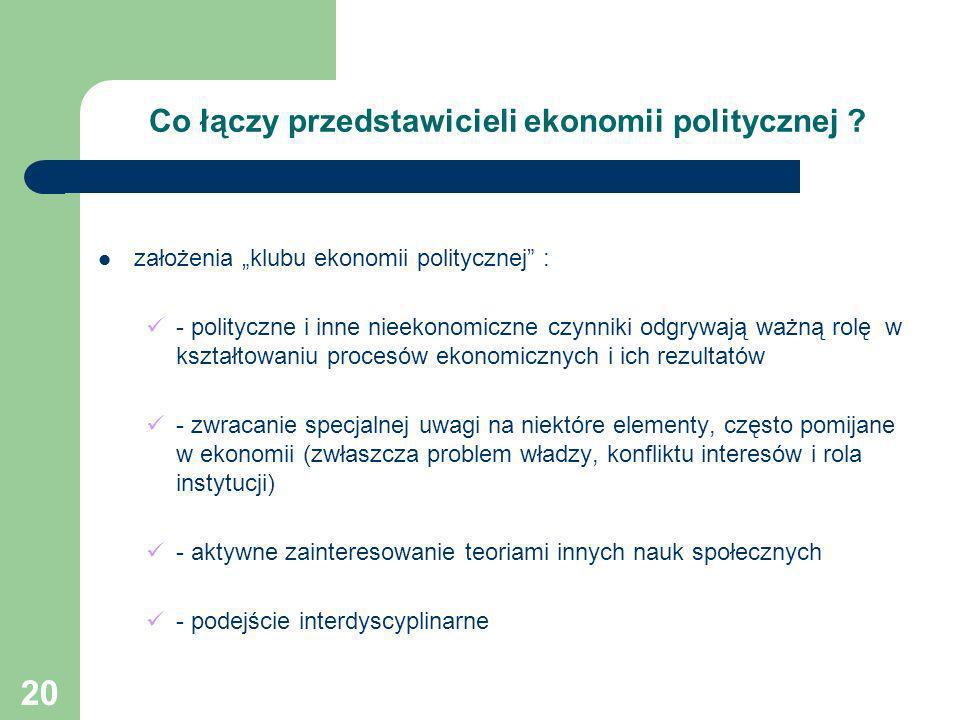 20 Co łączy przedstawicieli ekonomii politycznej ? założenia klubu ekonomii politycznej : - polityczne i inne nieekonomiczne czynniki odgrywają ważną