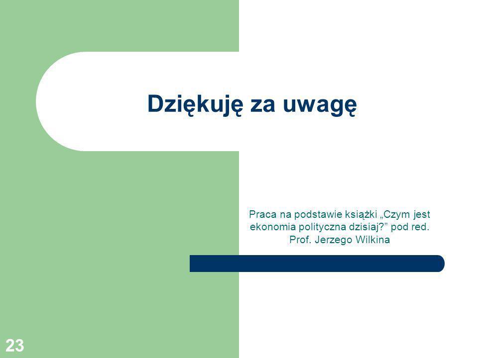 23 Dziękuję za uwagę Praca na podstawie książki Czym jest ekonomia polityczna dzisiaj? pod red. Prof. Jerzego Wilkina