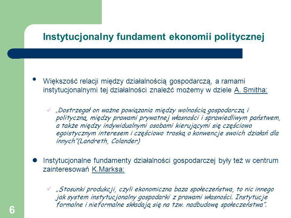6 Instytucjonalny fundament ekonomii politycznej Większość relacji między działalnością gospodarczą, a ramami instytucjonalnymi tej działalności znale