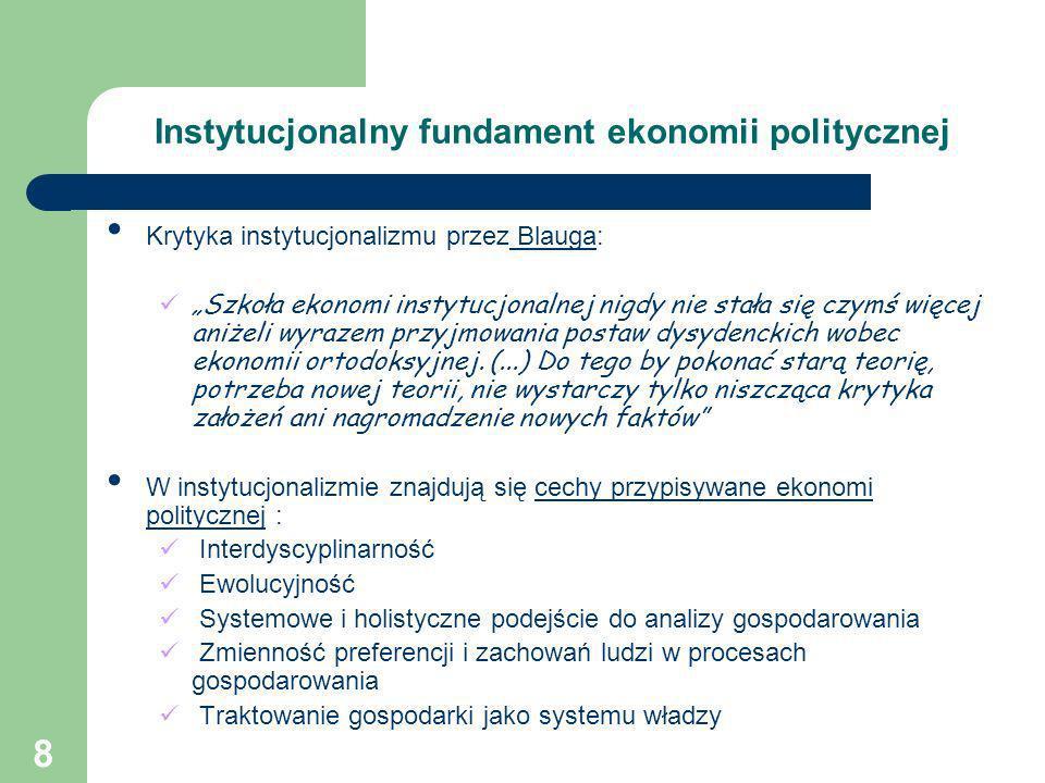 8 Instytucjonalny fundament ekonomii politycznej Krytyka instytucjonalizmu przez Blauga: Szkoła ekonomi instytucjonalnej nigdy nie stała się czymś wię
