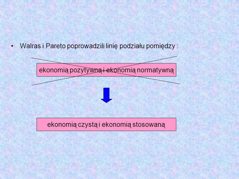 Walras i Pareto poprowadzili linię podziału pomiędzy : ekonomią pozytywną i ekonomią normatywną ekonomią czystą i ekonomią stosowaną