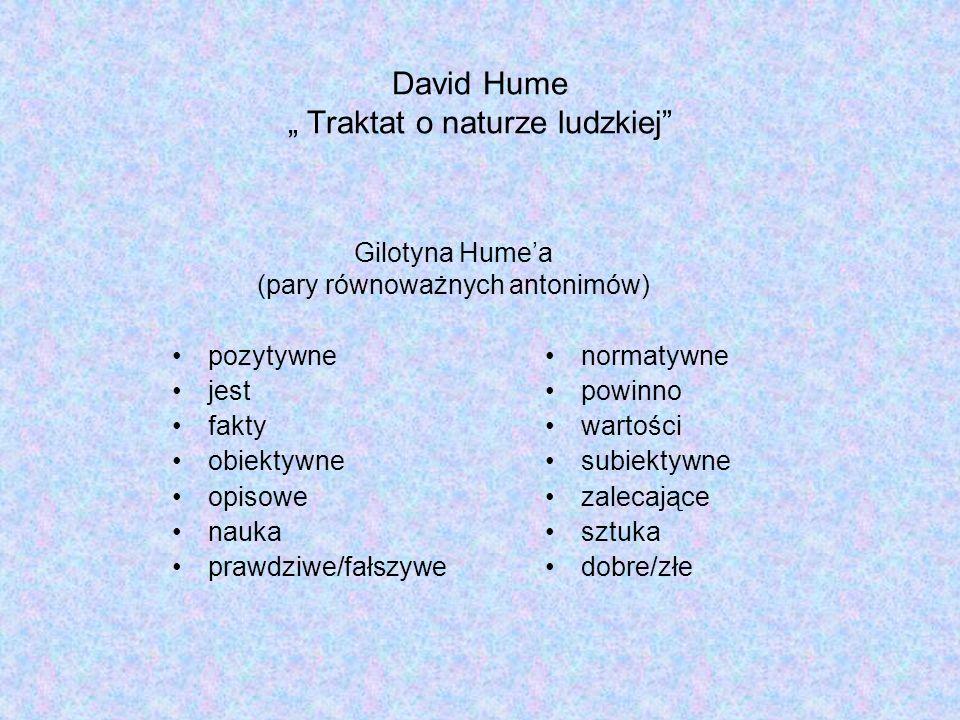 David Hume Traktat o naturze ludzkiej normatywne powinno wartości subiektywne zalecające sztuka dobre/złe Gilotyna Humea (pary równoważnych antonimów) pozytywne jest fakty obiektywne opisowe nauka prawdziwe/fałszywe