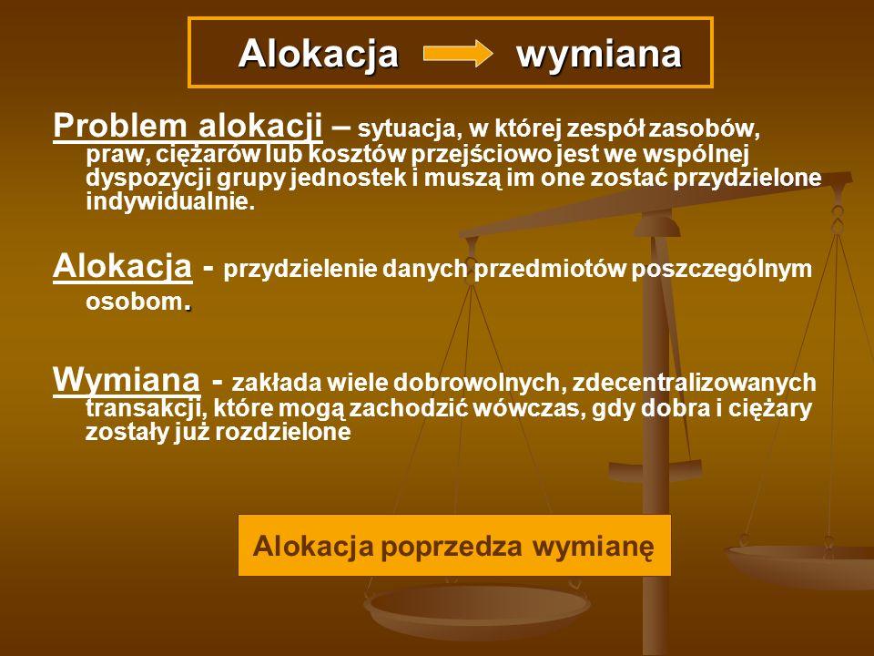 Problem alokacji – sytuacja, w której zespół zasobów, praw, ciężarów lub kosztów przejściowo jest we wspólnej dyspozycji grupy jednostek i muszą im on