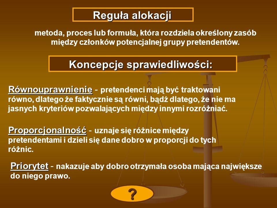 Reguła alokacji Reguła alokacji metoda, proces lub formuła, która rozdziela określony zasób między członków potencjalnej grupy pretendentów. Koncepcje