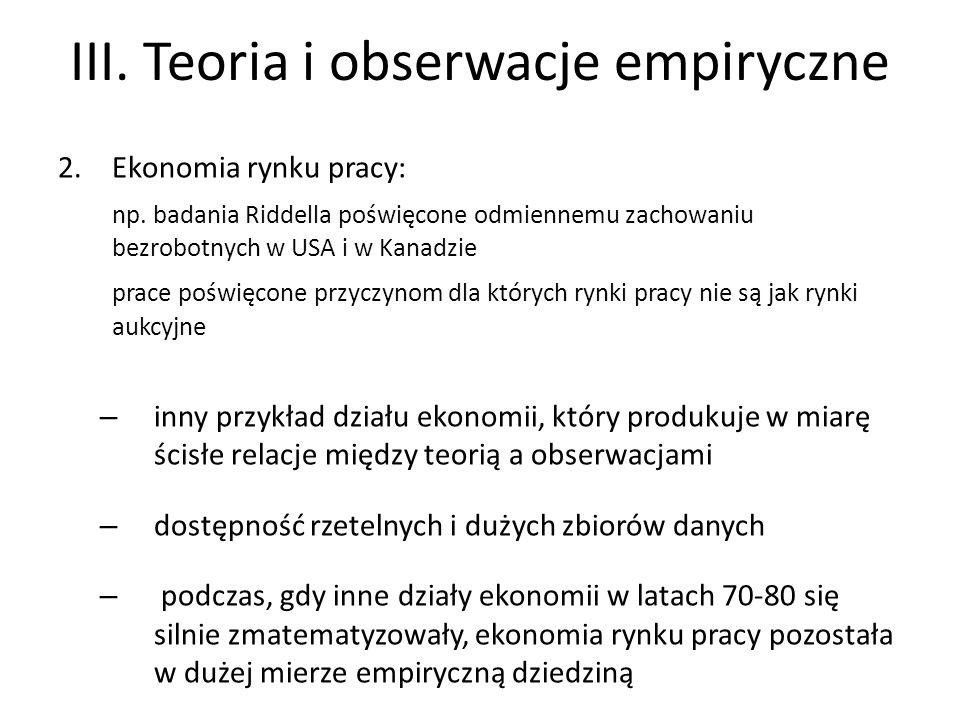 III. Teoria i obserwacje empiryczne 2.Ekonomia rynku pracy: np.