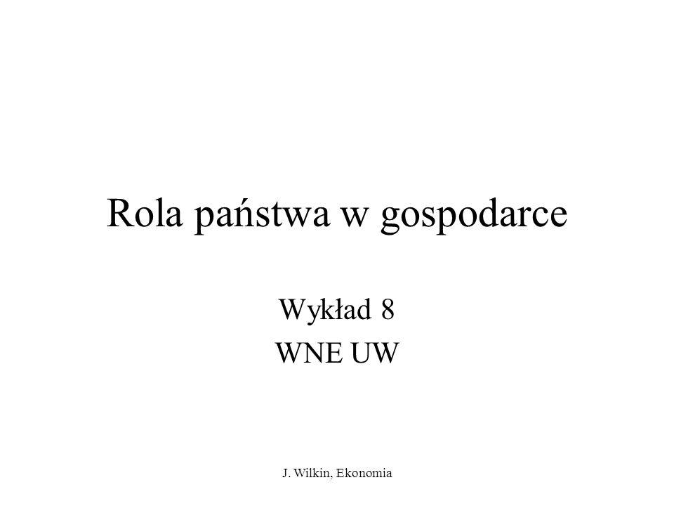 J. Wilkin, Ekonomia Rola państwa w gospodarce Wykład 8 WNE UW