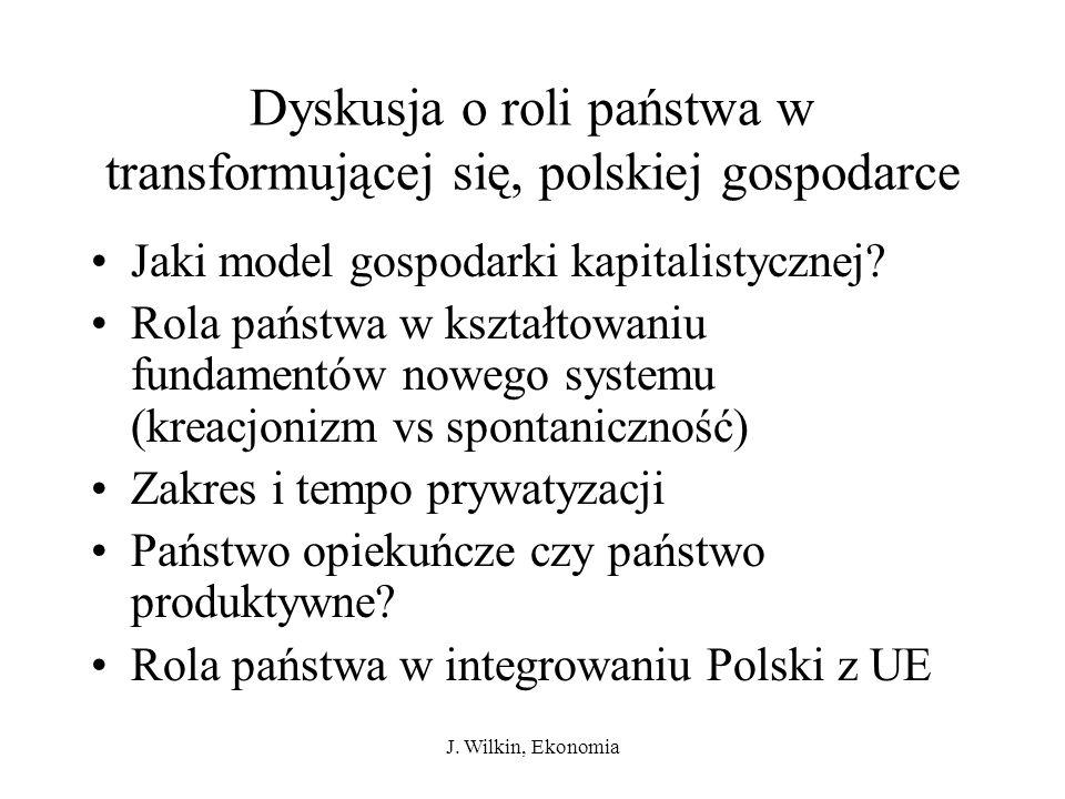 J. Wilkin, Ekonomia Dyskusja o roli państwa w transformującej się, polskiej gospodarce Jaki model gospodarki kapitalistycznej? Rola państwa w kształto