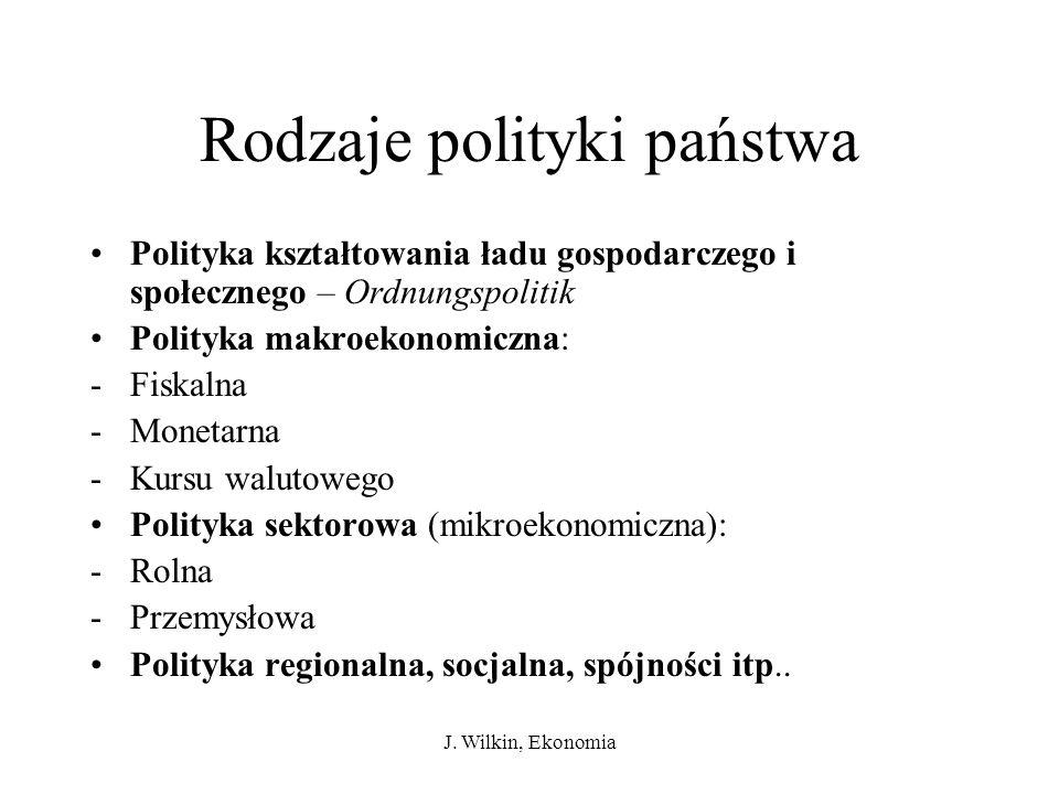 J. Wilkin, Ekonomia Rodzaje polityki państwa Polityka kształtowania ładu gospodarczego i społecznego – Ordnungspolitik Polityka makroekonomiczna: -Fis
