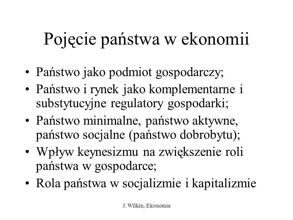 J. Wilkin, Ekonomia Pojęcie państwa w ekonomii Państwo jako podmiot gospodarczy; Państwo i rynek jako komplementarne i substytucyjne regulatory gospod