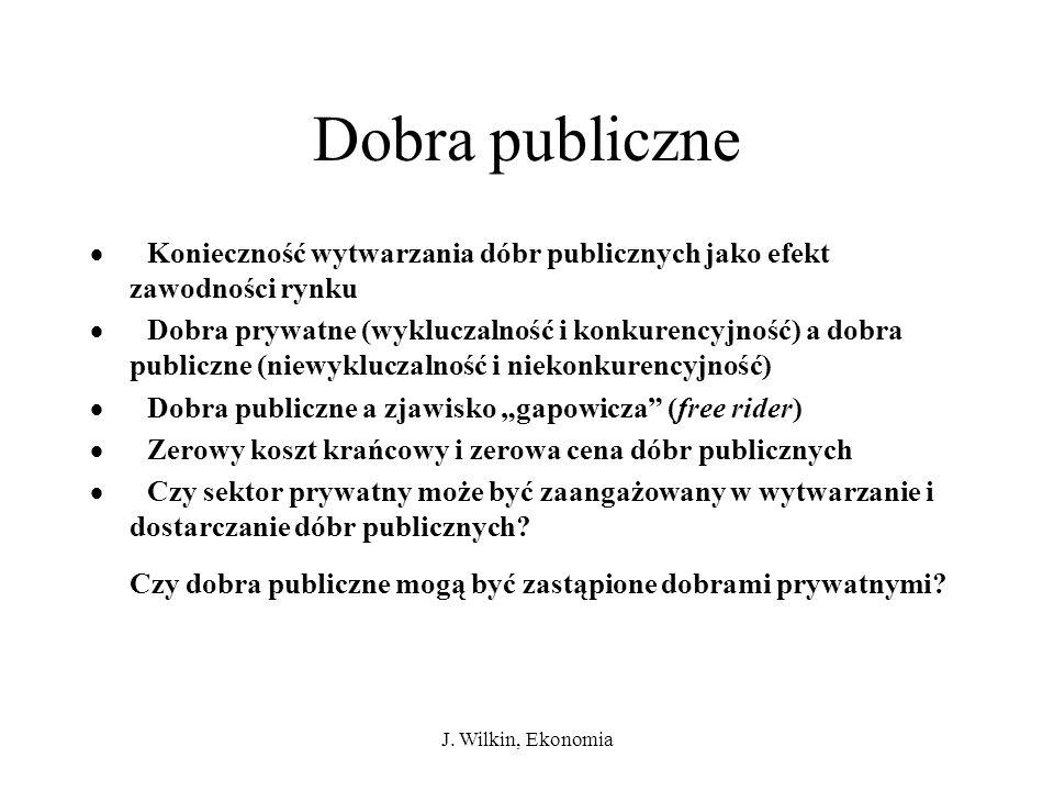 J. Wilkin, Ekonomia Dobra publiczne Konieczność wytwarzania dóbr publicznych jako efekt zawodności rynku Dobra prywatne (wykluczalność i konkurencyjno