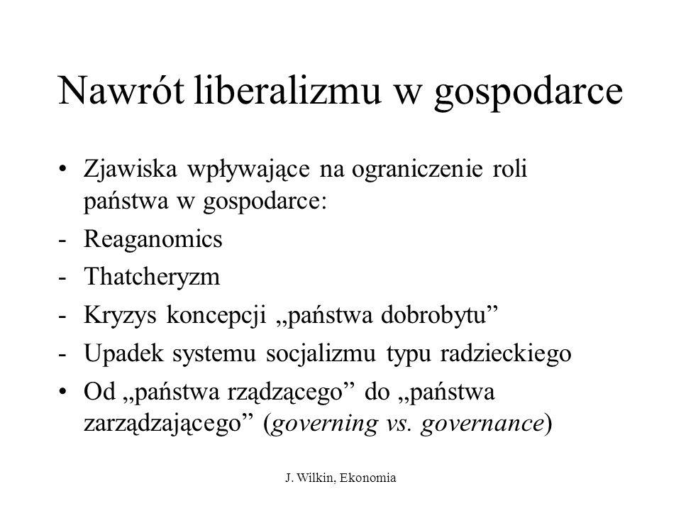 J. Wilkin, Ekonomia Nawrót liberalizmu w gospodarce Zjawiska wpływające na ograniczenie roli państwa w gospodarce: -Reaganomics -Thatcheryzm -Kryzys k