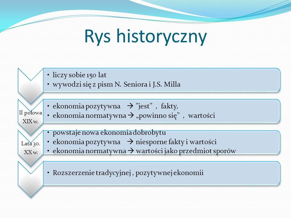 Rys historyczny liczy sobie 150 lat wywodzi się z pism N. Seniora i J.S. Milla II połowa XIX w. ekonomia pozytywna jest, fakty, ekonomia normatywna po