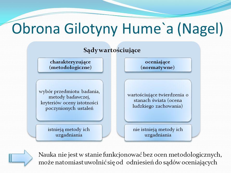 Obrona Gilotyny Hume`a (Nagel) charakteryzujące (metodologiczne) wybór przedmiotu badania, metody badawczej, kryteriów oceny istotności poczynionych u
