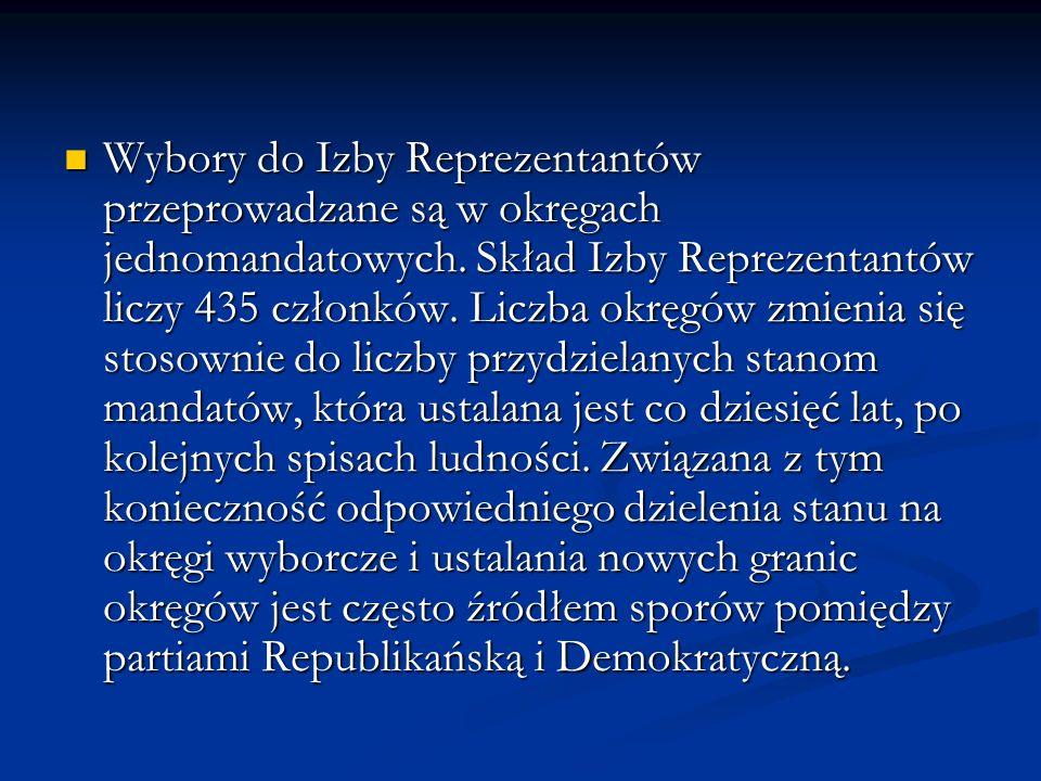 Wybory do Izby Reprezentantów przeprowadzane są w okręgach jednomandatowych. Skład Izby Reprezentantów liczy 435 członków. Liczba okręgów zmienia się