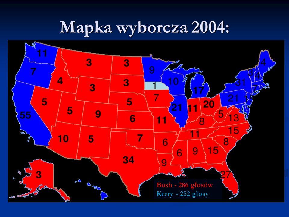 Mapka wyborcza 2004: Bush - 286 głosów Kerry - 252 głosy