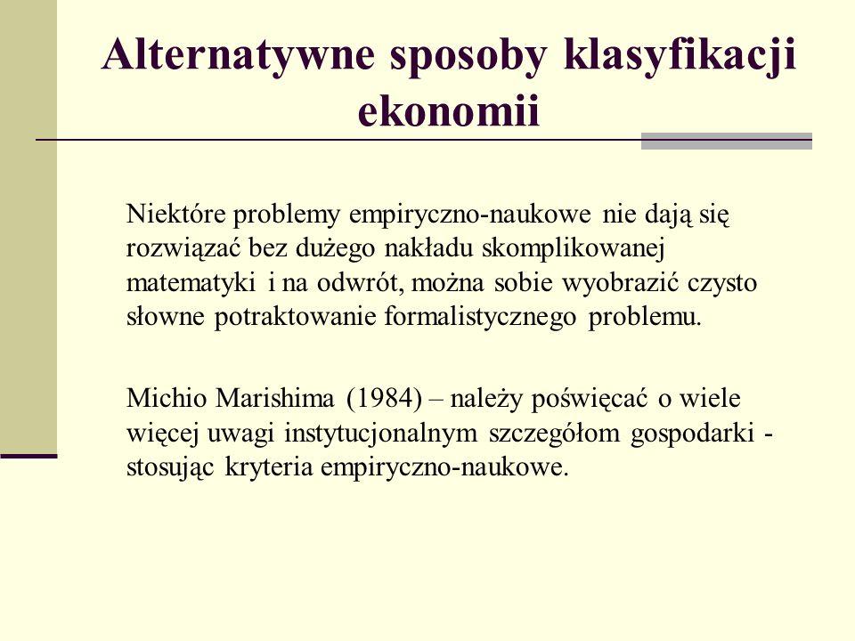 Alternatywne sposoby klasyfikacji ekonomii Niektóre problemy empiryczno-naukowe nie dają się rozwiązać bez dużego nakładu skomplikowanej matematyki i na odwrót, można sobie wyobrazić czysto słowne potraktowanie formalistycznego problemu.