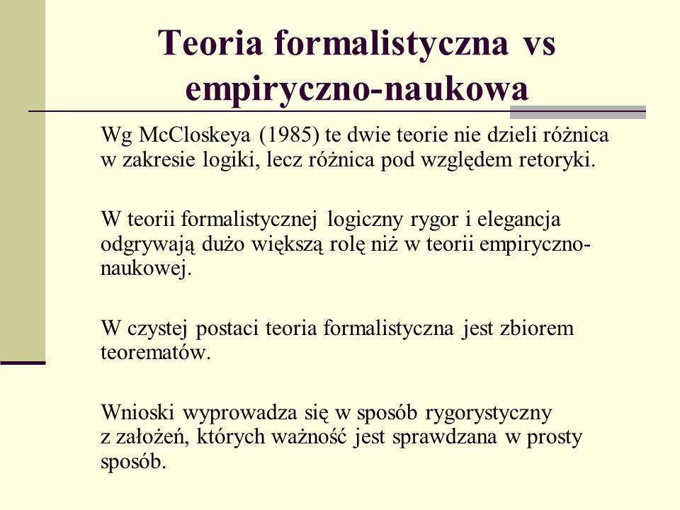 Teoria formalistyczna vs empiryczno-naukowa Wg McCloskeya (1985) te dwie teorie nie dzieli różnica w zakresie logiki, lecz różnica pod względem retoryki.
