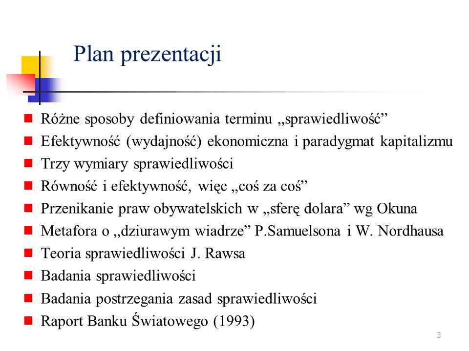 Plan prezentacji Różne sposoby definiowania terminu sprawiedliwość Efektywność (wydajność) ekonomiczna i paradygmat kapitalizmu Trzy wymiary sprawiedl