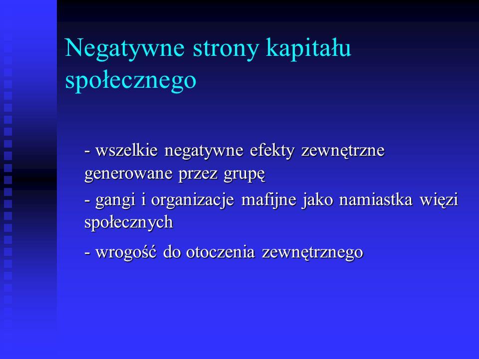 Negatywne strony kapitału społecznego - wszelkie negatywne efekty zewnętrzne generowane przez grupę - gangi i organizacje mafijne jako namiastka więzi społecznych - wrogość do otoczenia zewnętrznego
