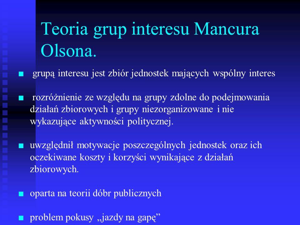 Teoria grup interesu Mancura Olsona. grupą interesu jest zbiór jednostek mających wspólny interes rozróżnienie ze względu na grupy zdolne do podejmowa
