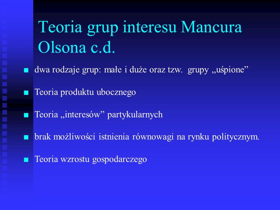 Teoria grup interesu Mancura Olsona c.d. dwa rodzaje grup: małe i duże oraz tzw. grupy uśpione Teoria produktu ubocznego Teoria interesów partykularny