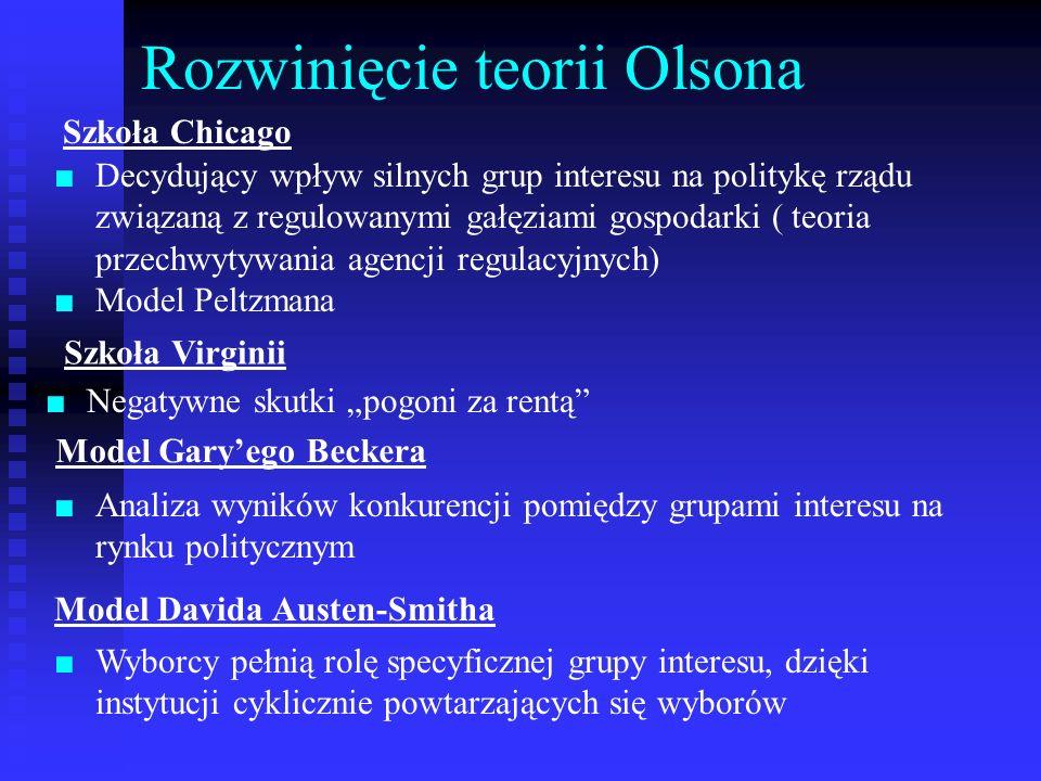 Rozwinięcie teorii Olsona Decydujący wpływ silnych grup interesu na politykę rządu związaną z regulowanymi gałęziami gospodarki ( teoria przechwytywan