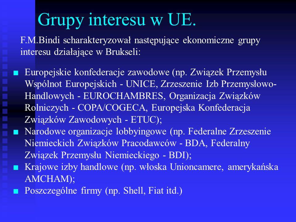 Grupy interesu w UE. F.M.Bindi scharakteryzował następujące ekonomiczne grupy interesu działające w Brukseli: Europejskie konfederacje zawodowe (np. Z