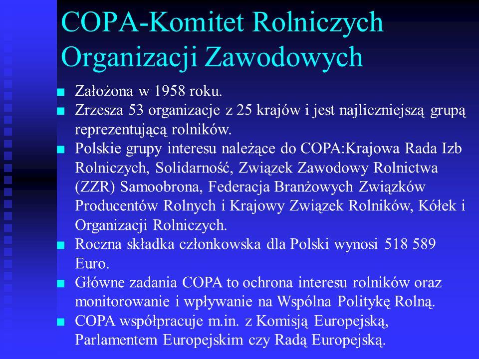 COPA-Komitet Rolniczych Organizacji Zawodowych Założona w 1958 roku. Zrzesza 53 organizacje z 25 krajów i jest najliczniejszą grupą reprezentującą rol