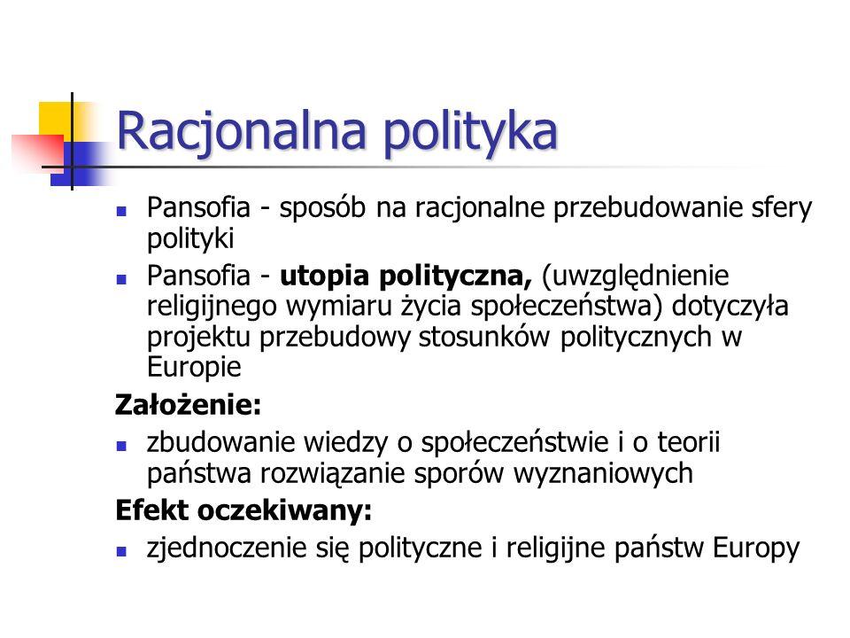 Racjonalna polityka Pansofia - sposób na racjonalne przebudowanie sfery polityki Pansofia - utopia polityczna, (uwzględnienie religijnego wymiaru życi
