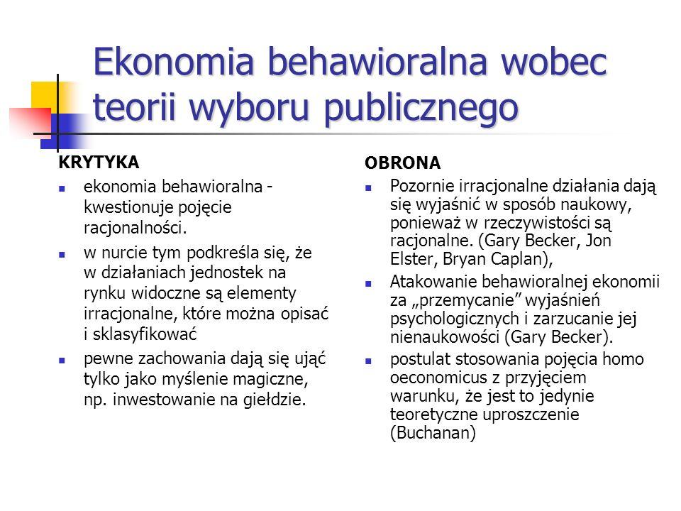 Ekonomia behawioralna wobec teorii wyboru publicznego KRYTYKA ekonomia behawioralna - kwestionuje pojęcie racjonalności. w nurcie tym podkreśla się, ż