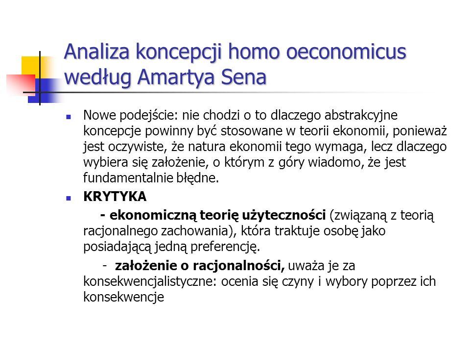 Analiza koncepcji homo oeconomicus według Amartya Sena Nowe podejście: nie chodzi o to dlaczego abstrakcyjne koncepcje powinny być stosowane w teorii