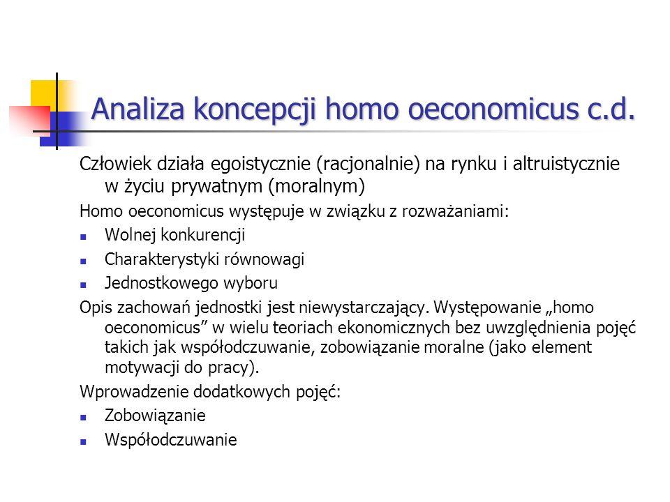 Analiza koncepcji homo oeconomicus c.d. Człowiek działa egoistycznie (racjonalnie) na rynku i altruistycznie w życiu prywatnym (moralnym) Homo oeconom