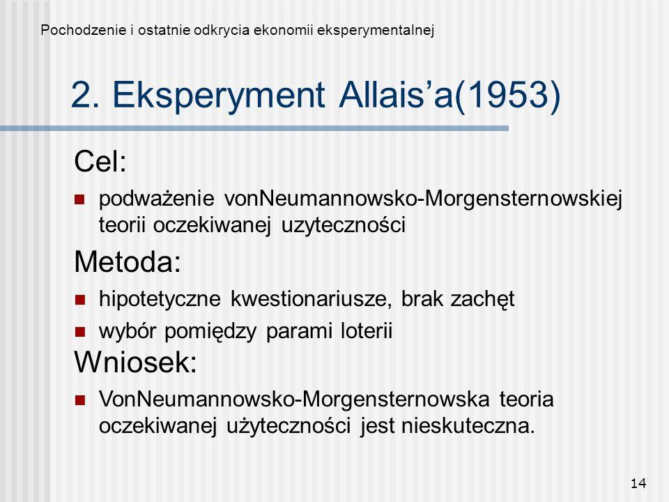 14 2. Eksperyment Allaisa(1953) Cel: podważenie vonNeumannowsko-Morgensternowskiej teorii oczekiwanej uzyteczności Pochodzenie i ostatnie odkrycia eko
