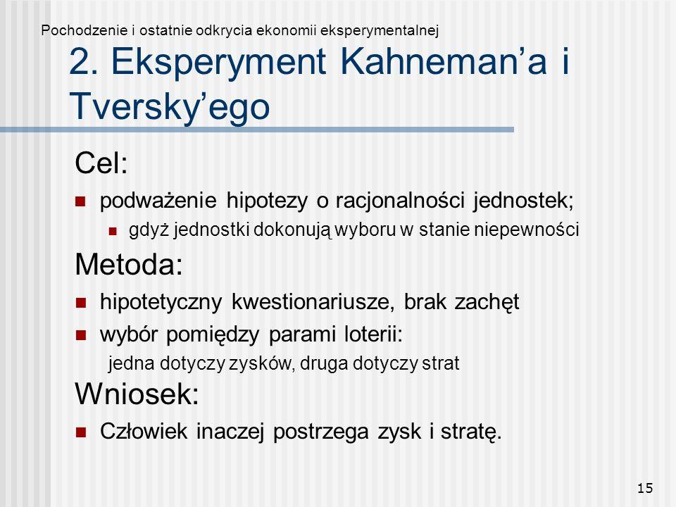 15 2. Eksperyment Kahnemana i Tverskyego Cel: podważenie hipotezy o racjonalności jednostek; gdyż jednostki dokonują wyboru w stanie niepewności Pocho