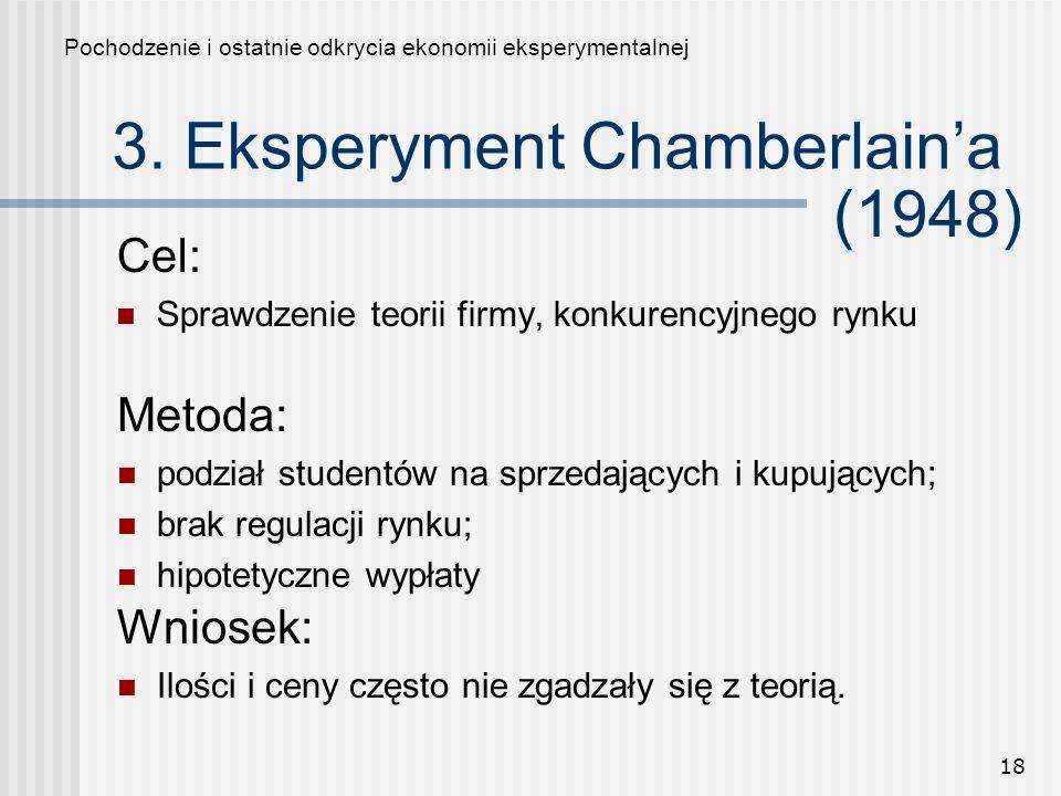18 3. Eksperyment Chamberlaina Cel: Sprawdzenie teorii firmy, konkurencyjnego rynku Pochodzenie i ostatnie odkrycia ekonomii eksperymentalnej Metoda: