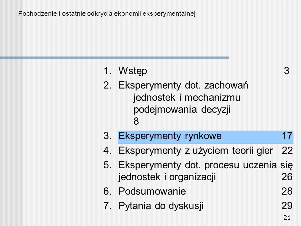 21 1.Wstęp3 2.Eksperymenty dot.