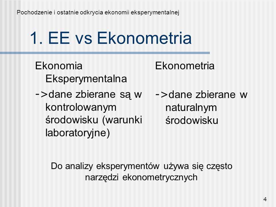 4 Ekonomia Eksperymentalna -> dane zbierane są w kontrolowanym środowisku (warunki laboratoryjne) Ekonometria -> dane zbierane w naturalnym środowisku Pochodzenie i ostatnie odkrycia ekonomii eksperymentalnej Do analizy eksperymentów używa się często narzędzi ekonometrycznych 1.