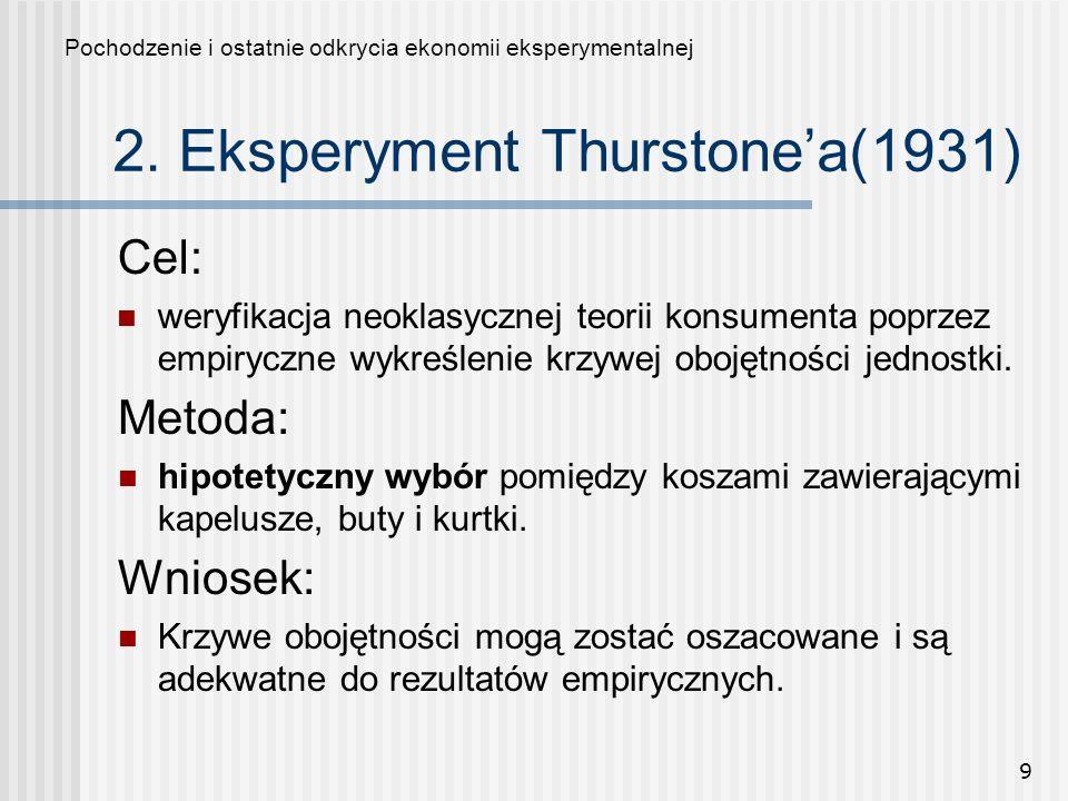 9 2. Eksperyment Thurstonea(1931) Cel: weryfikacja neoklasycznej teorii konsumenta poprzez empiryczne wykreślenie krzywej obojętności jednostki. Pocho