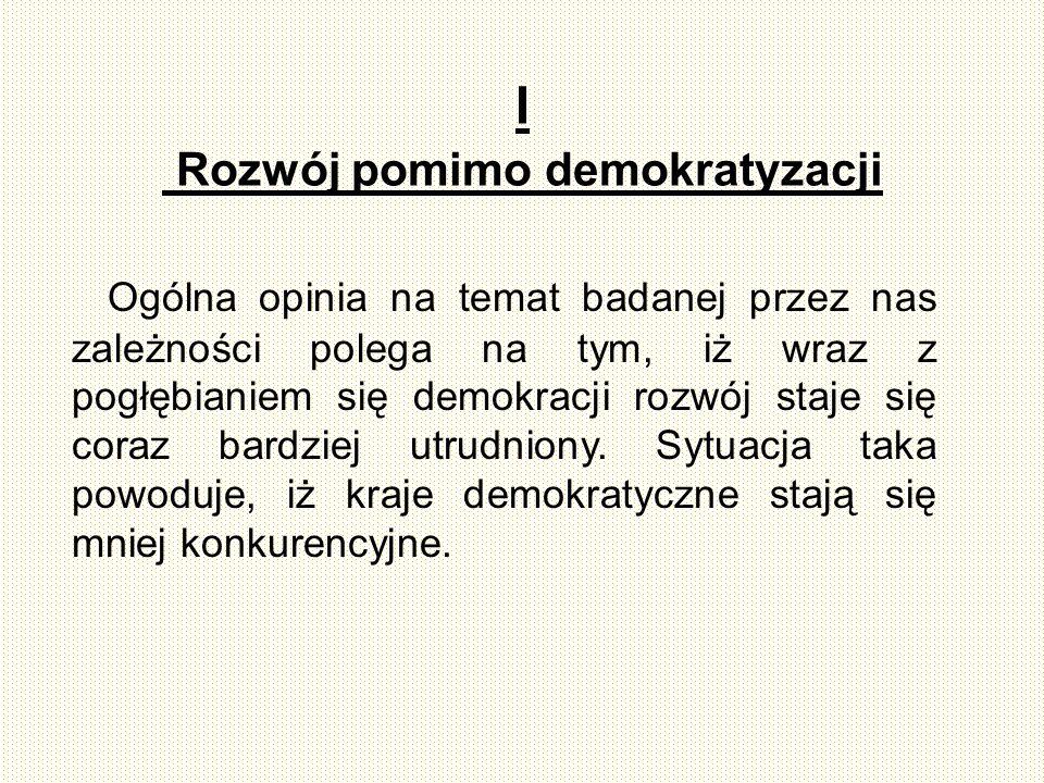 4 II Demokratyzacja jest to proces przekształcania systemu politycznego, prawa, życia społecznego itp.