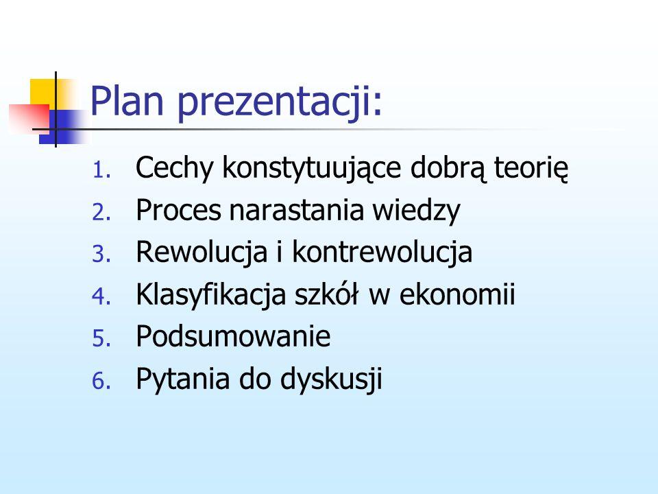 Plan prezentacji: 1.Cechy konstytuujące dobrą teorię 2.