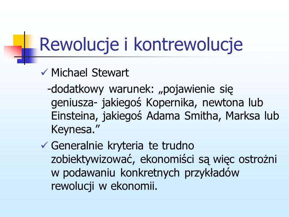 Rewolucje i kontrewolucje 4) musi oferować odmienną, bardziej atrakcyjną od poprzedniej metodologię, 5) musi zostać stworzone nowe pole do badań ekono
