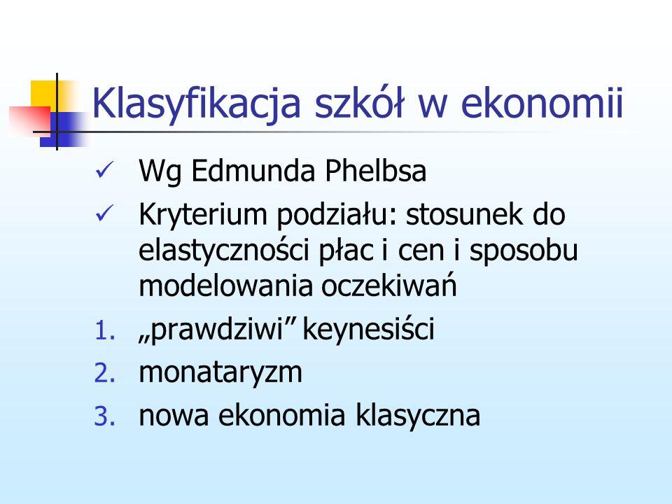 Klasyfikacja szkół w ekonomii Analiza ograniczona do ekonomii głównego nurtu Ekonomia głównego nurtu- zbiór teorii, które wykorzystują ramy równowagi