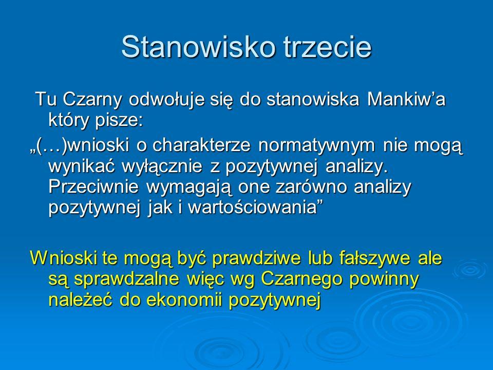 Stanowisko trzecie Tu Czarny odwołuje się do stanowiska Mankiwa który pisze: Tu Czarny odwołuje się do stanowiska Mankiwa który pisze: (…)wnioski o ch