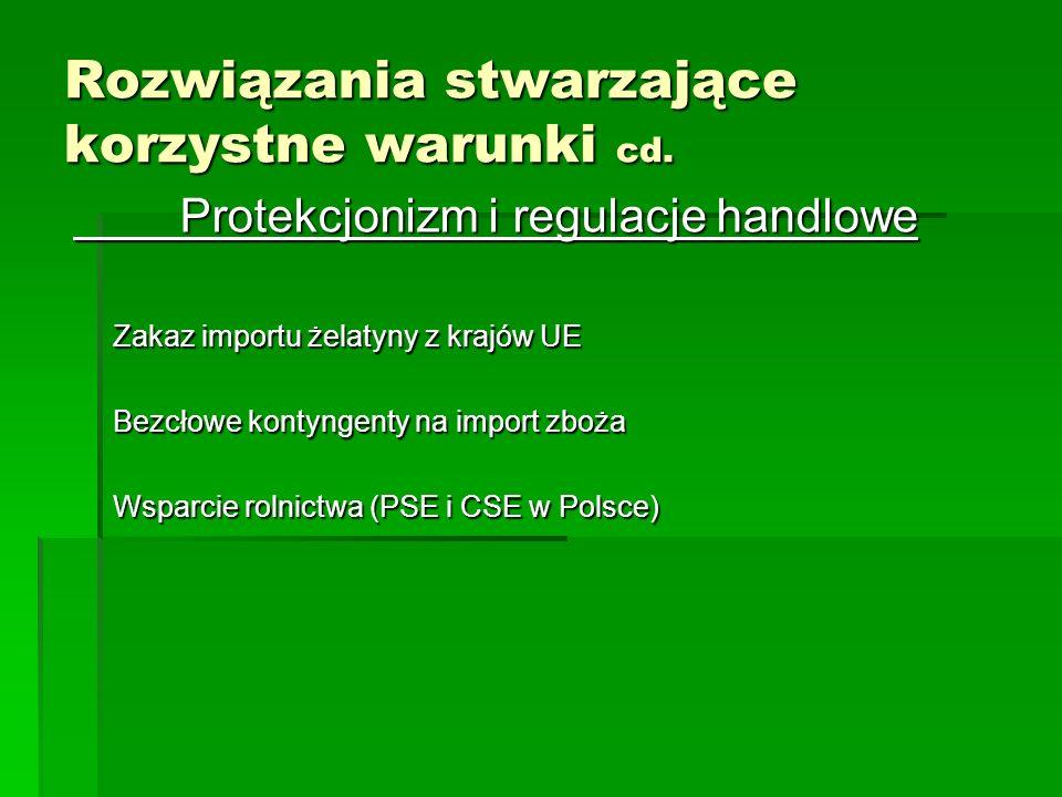 Protekcjonizm i regulacje handlowe Zakaz importu żelatyny z krajów UE Bezcłowe kontyngenty na import zboża Wsparcie rolnictwa (PSE i CSE w Polsce) Roz