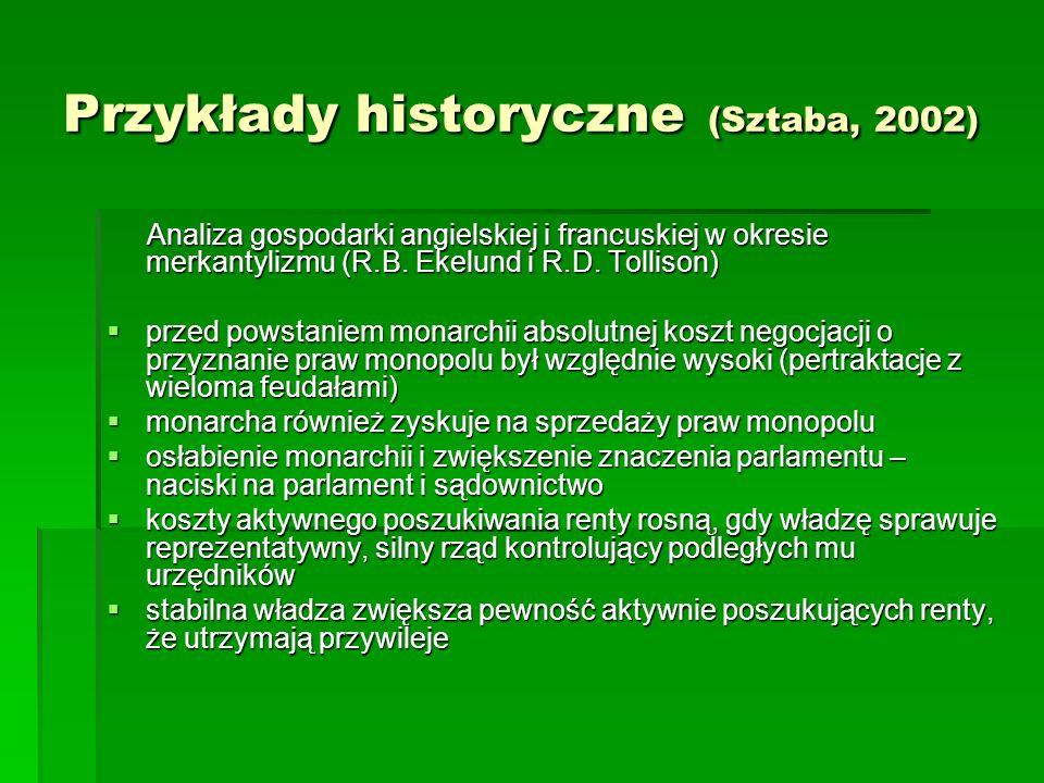 Przykłady historyczne (Sztaba, 2002) Analiza gospodarki angielskiej i francuskiej w okresie merkantylizmu (R.B. Ekelund i R.D. Tollison) Analiza gospo