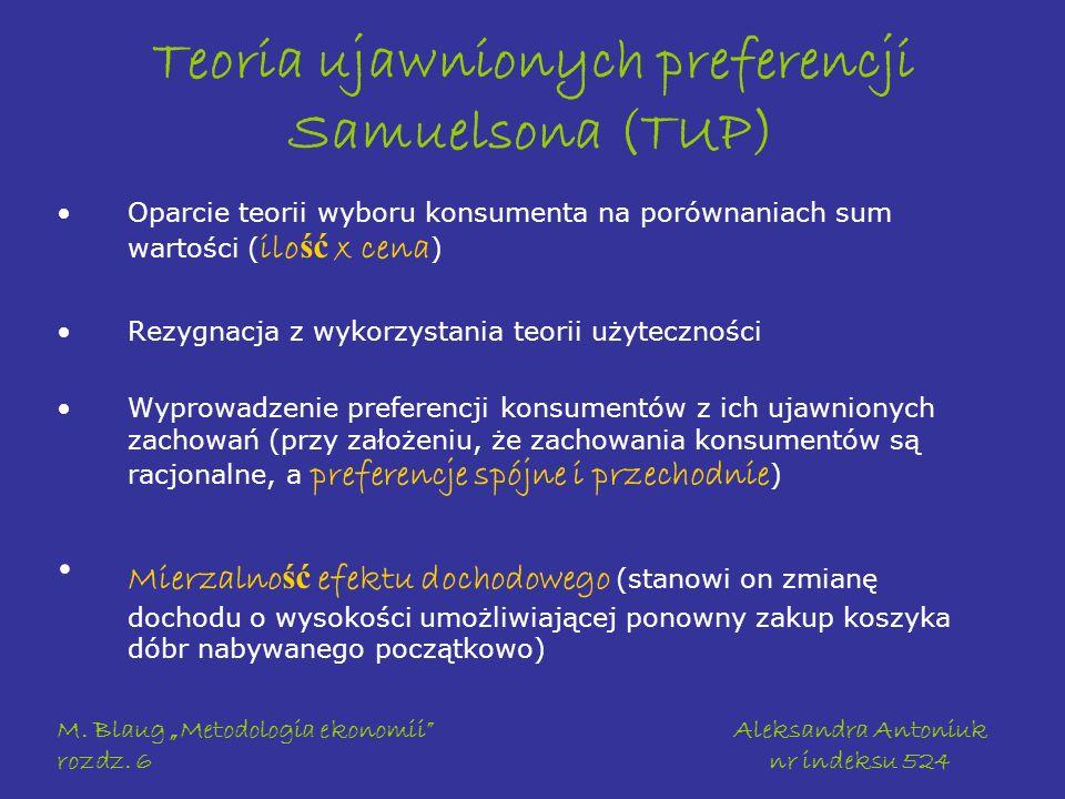 M. Blaug Metodologia ekonomii rozdz. 6 Aleksandra Antoniuk nr indeksu 524 Teoria ujawnionych preferencji Samuelsona (TUP) Oparcie teorii wyboru konsum