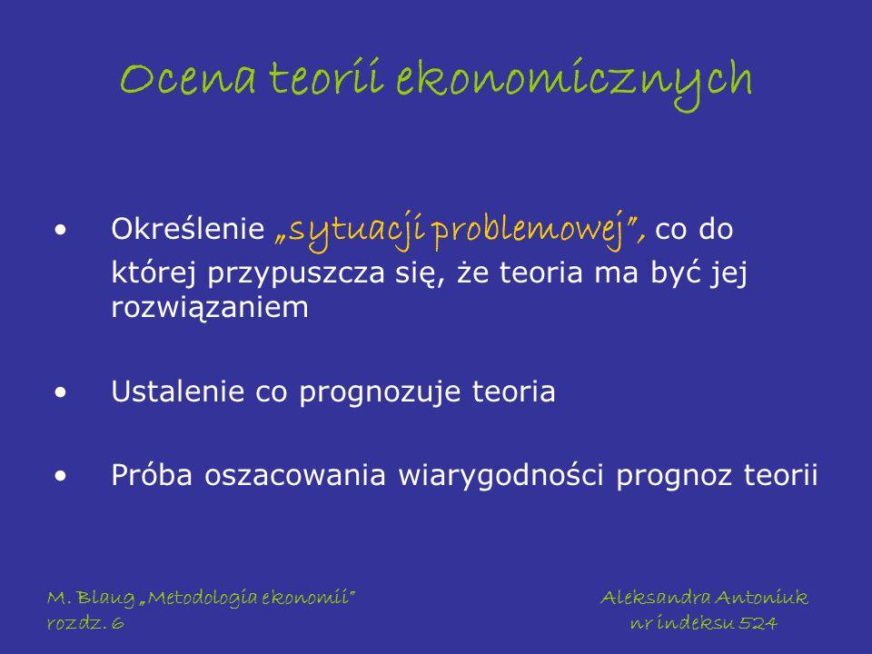 M. Blaug Metodologia ekonomii rozdz. 6 Aleksandra Antoniuk nr indeksu 524 Ocena teorii ekonomicznych Określenie sytuacji problemowej, co do której prz