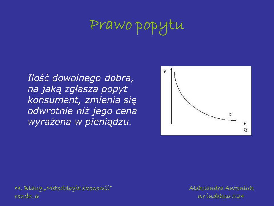 M. Blaug Metodologia ekonomii rozdz. 6 Aleksandra Antoniuk nr indeksu 524 Prawo popytu Ilość dowolnego dobra, na jaką zgłasza popyt konsument, zmienia