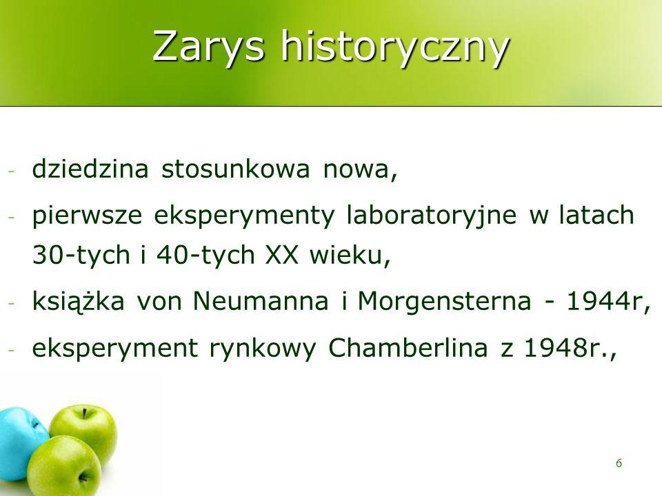 6 Zarys historyczny - dziedzina stosunkowa nowa, - pierwsze eksperymenty laboratoryjne w latach 30-tych i 40-tych XX wieku, - książka von Neumanna i M